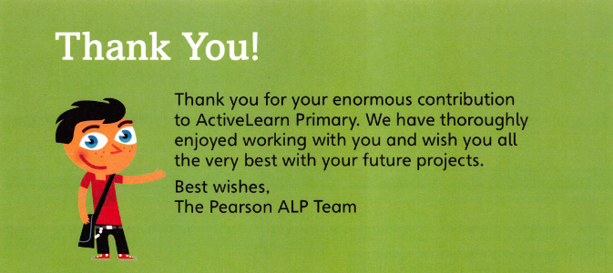 Thank you - from Pearson